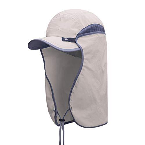 Zerama Faktor 50+ UV-Schutz Sommer-Unisexaußen Removable Wide Brim Angeln Cap Neck Gesicht Flap Hut - Faktor Gesicht