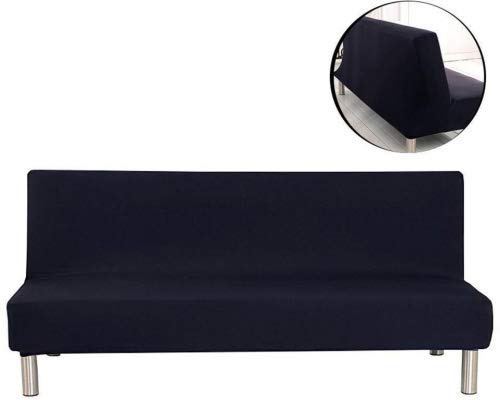 Surenhap Sofabezug ohne Armstützen, 3 Sitzer, elastischer Sofaabdeckung Stretchbezug Sofaüberwurf Sofa Cover für Sofa Couch Sessel Schwarz