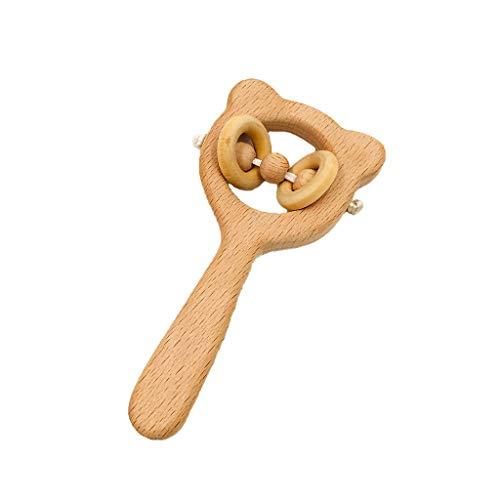 Preisvergleich Produktbild MMLC 1pc natürliches Buchen-Holz-Kinderkrankheits-Geklapper-Baby,  Das kaubaren Beißring pflegt (B)