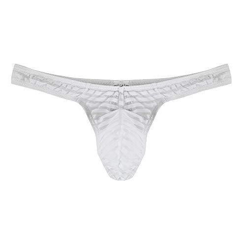 POIUDE Räumung Männer Sexy Dessous Unterwäsche Herren Slips G-Strings Tanga Erotische Ice Silk Breathable Mesh Dreieckige Slips(Weiß, XX-Large)