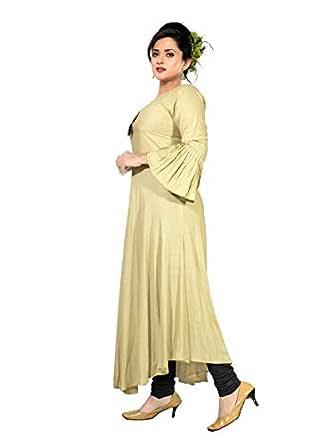 Haya Tan Brown Slub Rayon Long Kurti with Rayon Pant Set