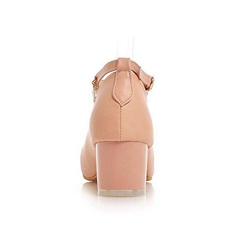 AllhqFashion Femme Pu Cuir Couleur Unie Boucle Rond à Talon Correct Chaussures Légeres Rose