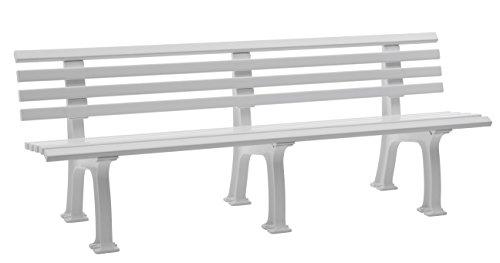 Sitzbank / Gartenbank 4-Sitzer: Juist, Länge 200cm, weiß (hochwertiger Kunststoff, Parkbank Made in Germany)