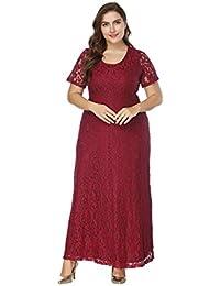 d2601eb96 UR MAX BEAUTY Vestido De Noche De Talla Grande para Mujer Sexy Vestido  Largo De Manga Corta con Cuello Redondo Vestido Maxi De…