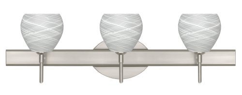 Satin-nickel Art (Besa Lighting 3SW-560560-SN Tay 3-Light Vanity Fixture, Cocoon Art Glass Shades with Satin Nickel Finish by Besa)