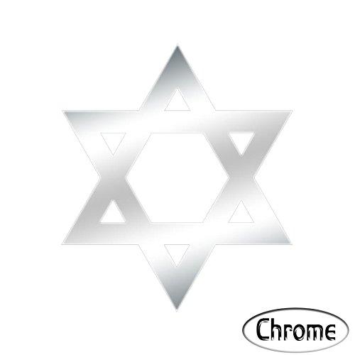 Wandtattoo Logo Kreuz jüdische selbstklebend-mehrere Farben erhältlich chrom (Jüdische Kreuz)