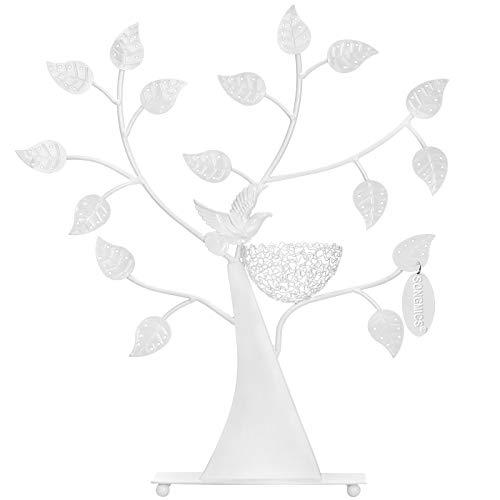SONGMICS Expositor de Pendientes Anillos Pulseras Soporte para Joyería Diseño de árbol Blanco JDS065