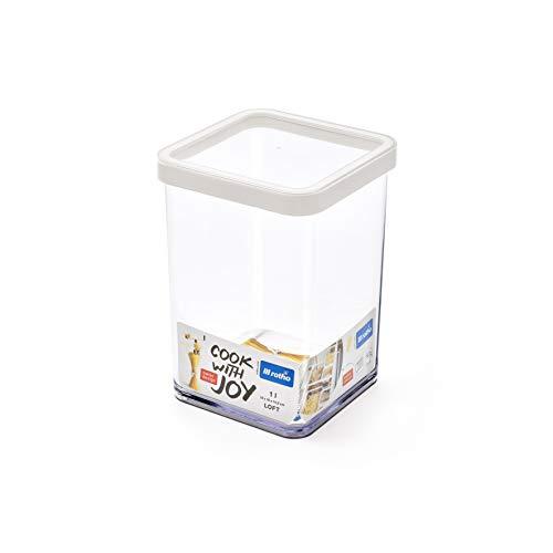 Rotho Loft Vorratsdose 1 l, Kunststoff (BPA-frei), transparent / weiss, 1 Liter (10 x 10 x 14,2 cm)