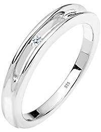 Diamore Ring Damen Geschenkidee (0.03 ct.) Diamant in 925 Sterling Silber