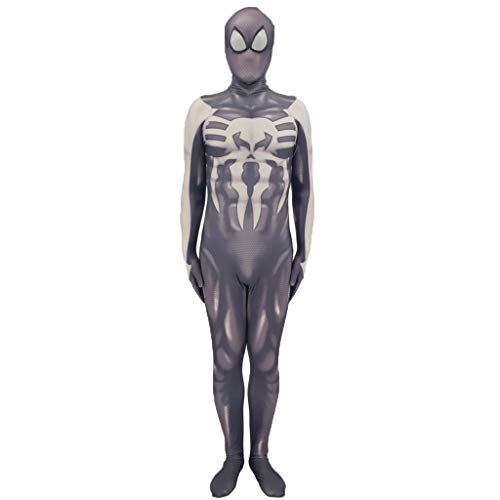 nihiug Halloween Kostüm Punisher Spiderman Anime Kostüm Spiderman Bühnenkostüm Leistung Cosplay Kostüm,Grey-XXL (Punisher Kostüm Halloween)