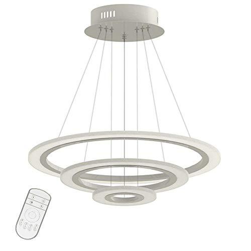 70W LED Modern Acryl Pendelleuchte Drei Ringe Deckenlampe Kreative Kronleuchter Dimmbar Lüster SMD-Lampe Perlen Hängeleuchte