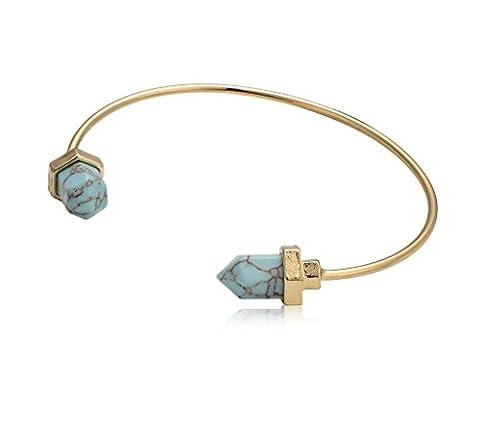 Femmes Birthstone Bleu Turquoise couleur réglable Bangle Bracelets ton or Fil Bracelet manchette