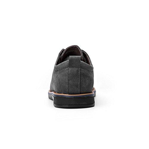 Herren Smart Weiches Leder Britisch Martin Schuhe, COUTUDI Gemütlich Schnüren Wohnungen für die Formale Arbeit Grau