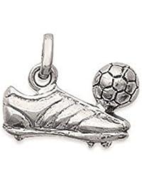 Colgante plata 925, diseño de futbolista con balón y calzado de deporte