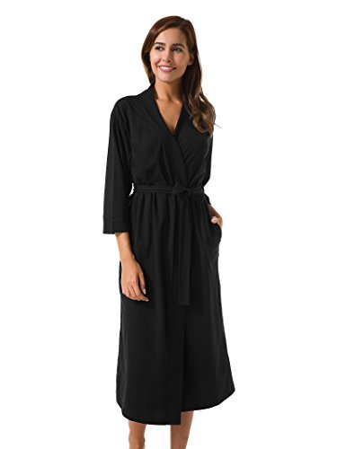 Mantel Fuchsia Satin (SIORO Damen V-Ausschnitt Kimono Roben Nachthemd Lange Bademäntel Weich Morgenmäntel Pyjama schwarz M)