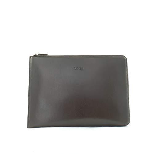 RAMES Laptop-Sleeve 13 Zoll | Hochwertiges Nappa-Leder | Edle Laptophülle mit Reißverschluss | Mit Innenpolster | Für MacBooks geeignet | Handarbeit/Nachhaltig | Maße (BxHxT): 34x24x2 (Dunkelbraun) -