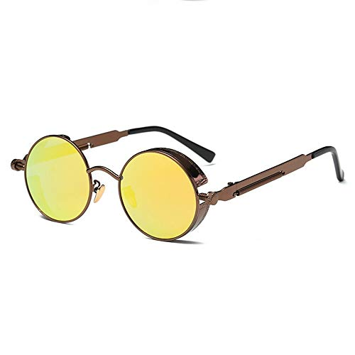 KJDFN Polarisierte Runde Retro Silber- / Goldsonnenbrille, Die Brillen Herren Und Damen Running Fishing Steampunk Wind Fährt Trend (Farbe : Brown)