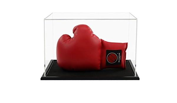 Widdowsons écran Cases Unique Gant de boxe portables d'affichage avec une base en bois, acrylique, 38.2x 28.2x 23.6cm