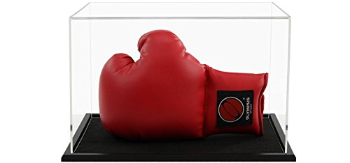 Boxing Glove Acrylic Display Case (Horizontal) with a Choice of Base Styles Black Wooden Base