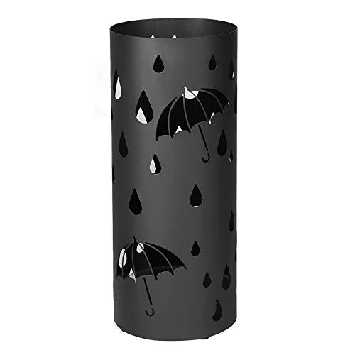 Songmics porta ombrelli in metallo, portaombrelli rotondo, con gancini e vaschetta scolapioggia rimovibile, Ø19,5 x 49 cm, nero luc23b