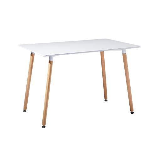 DORAFAIR Rechteckig Esstisch Weiß Küchentisch Modern Büro Konferenztisch Kaffeetisch,Skandinavisch Esszimmertisch,Runde Buchenbeine,110 * 70 * 73cm -