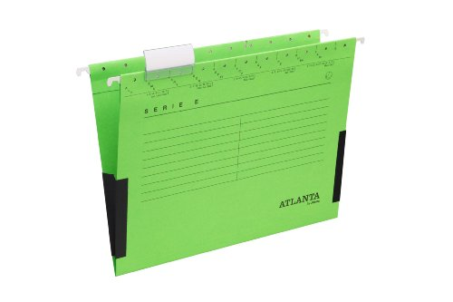 Jalema 2655624500 Atlanta Serie E Hängetasche mit Leinenfröschen A4, 25er Packung, grün