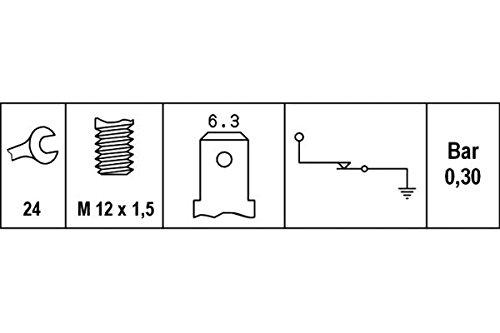 HELLA 6ZL 003 259-131 Öldruckschalter, Gewindemaß M12x1,5, 0,6 bis 0,8 bar