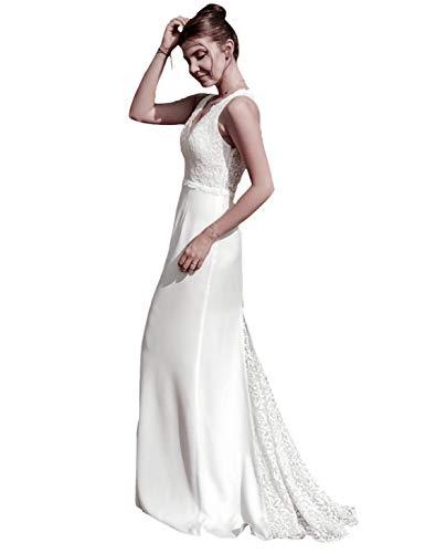 616a5442411b Ever-Pretty Vestito da Sera Lungo Donna Senza Spalline Ricamato Senza  Maniche 42 Avorio