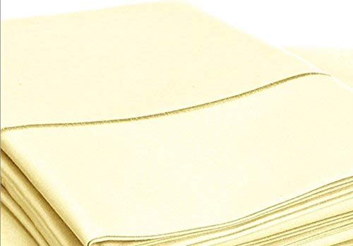 Chateau Home Collection Bettwäsche-Set gewoben aus ägyptischem Baumwoll-Satin mit 800er Fadenzahl, zum Überziehen, baumwolle, Transparent, Gelb, California King - Bett Chateau