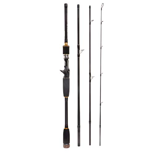 CUTICATE Baitcast Casting Rod 4 Teilig Angelrute 10 25g Lure Weight Travel Lure Rod - 2,1 m