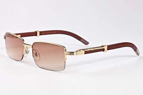 LKVNHP New Hochwertige Herren Sonnenbrille Marke Holz Sonnenbrille Für Mann Name Sonnenbrille Semi Randlose Rechteck Hohe Qualität Anti ReflektierendeKaffee Rot