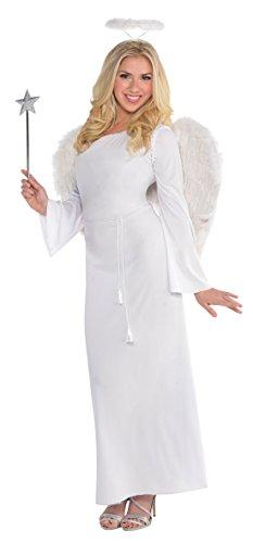Confettery - Damen Fashion Maxikleid Engelskostüm, Weiß, Größe (Verkleiden Lebkuchen Kostüm Mann)