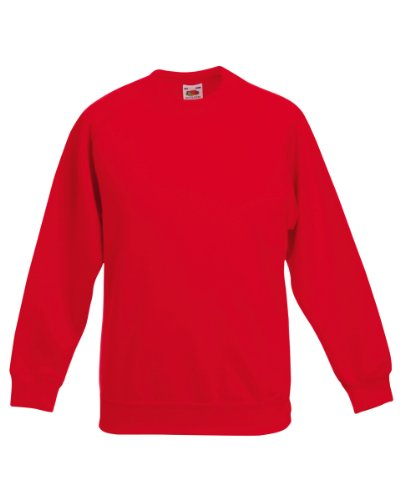 Fruit of the Loom Kinder Raglan-Ärmel Sweatshirt Rot - Rot