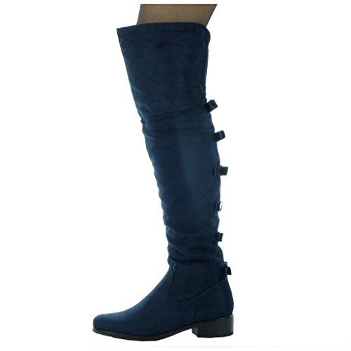 Angkorly - Scarpe Da Donna Stivali Coscia - Stivali Da Equitazione - Kavalier - Flessibile - Tacco Alto Tacco 3,5 Cm Blu