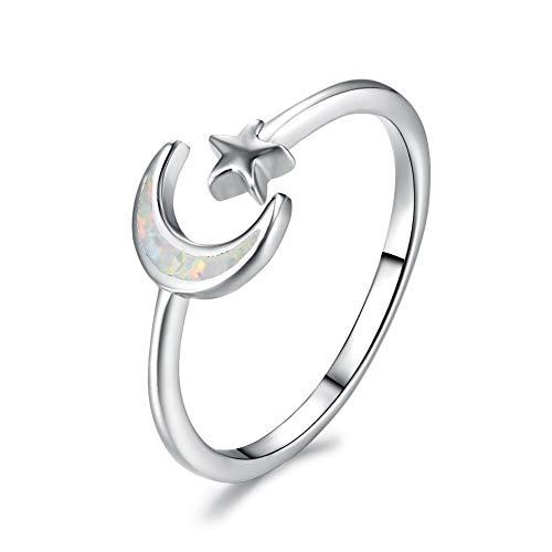 Damen 925 Sterling Silber Ring, Stern Mond Form Australischen Edelstein Verziert Mode Romantisch Einstellbar Paar Fingerring Lady, Hochzeitstag Engagement Ewigen Brautschmuck Geschenk