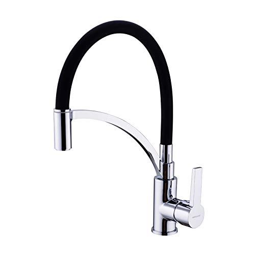 Küchenarmatur Wasserhahn Küche 360°schwenkbarer Auslauf Messing Schwarz T6 -