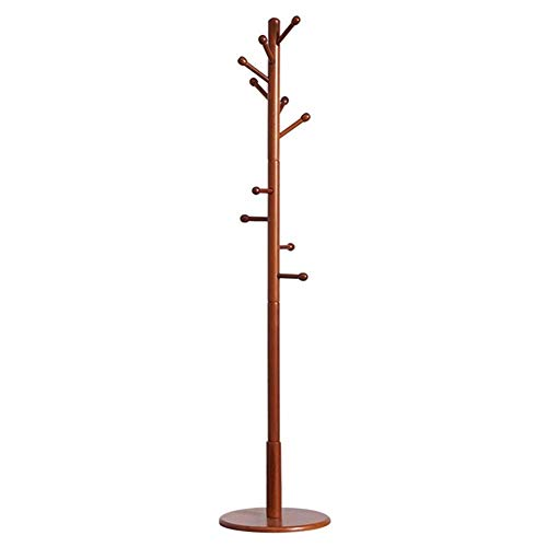 WEHOLY Kleiderständer, Massivholz, freistehend, Baum-Ständer mit 10 Haken für Kleid, Jacke, Hut und Regenschirm (Farbe: Braun)