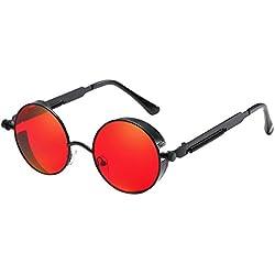 BOZEVON Punk Gafas de sol Redondas - Gafas de sol Retro Clásicas de Ciclismo de Metal Para Mujeres y Hombres Negro-Rojo