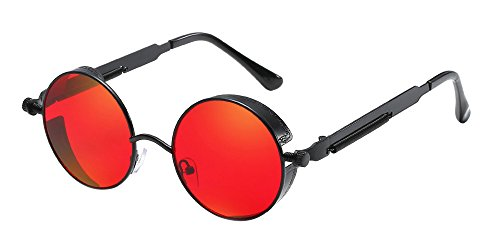 BOZEVON Punk Gafas de sol Redondas - Gafas de sol Retro Clásicas de  Ciclismo de Metal 3381c33342be