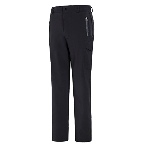 emansmoer Homme Pantalon Softshell Doublé Polaire Coupe-Vent Imperméable Outdoor Sport Pantalon de Camping Randonnée Escalade