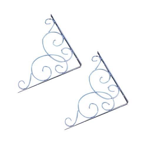 SEGRJ 2 Stücke Gusseisen Vintage Wand Dreieck Regal Brace Unterstützung Halterung Halter Wandhalterung Winkel Regal Klammern Weiß (Buch-regal-klammern)