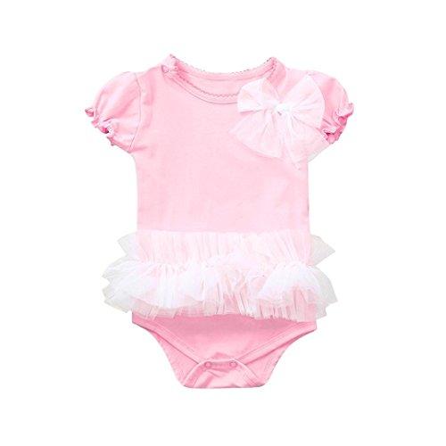 BeautyTop Baby Body 0-24 Monate,BBaby-Kurzarm-Gaze Bogen ein Jahr alt Kimono Kleid Overall Rosa Reine Farbe geknöpft Halfter Crossbody Harper Jumpsuit Reine Farbe Strampler Kleidung Jumpsuit (80)