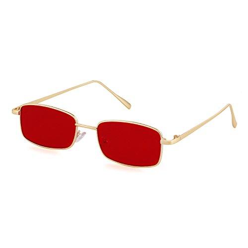 ADEWU Platz Sonnenbrille Mode Retro Brille für Damen Herren (Rot Linse + Gold Rahmen)