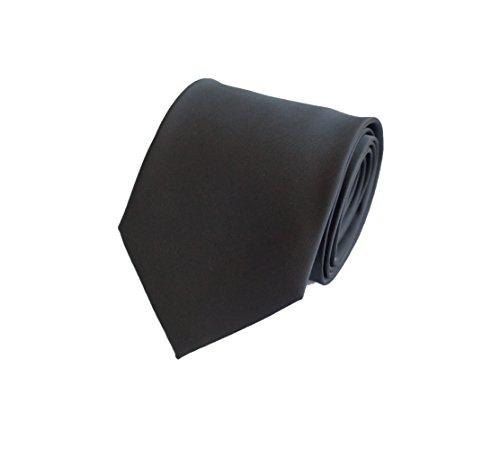 Elegante 8-cm Herren Krawatten von Fabio Farini, perfekt für Buisness, Hochzeit oder Abschlussball, Matt Schwarz (Schwarze Seide Krawatte)