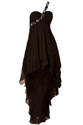 TOSKANA BRAUT Liebling Rueckenfrei Hi-Lo Chiffon Abendkleider Lang Brautjungfer Party Ballkleider Schokolade