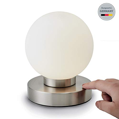 B.K.Licht Tischleuchte | Tischleuchte | Nachttisch-Leuchte für Schlafzimmer | Berührungssensor |Touchfunktion | IP20