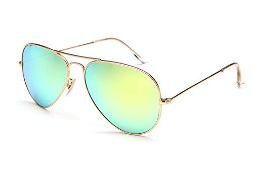 Laura Fairy 100% UV Schutz verspiegelt Unisex Aviator sunglasses-yellow