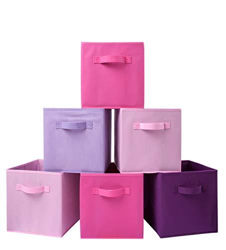 Homelife 6 Stück Faltbare Aufbewahrungsbox Organizer Pink Mädchen Cube Korb Box für Wäsche, Schlafzimmer, Spielzeug, Kinderzimmer, Regal, Haustier