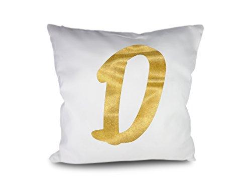 FILU Kissenbezug 50x50 cm (Design wählbar) Buchstabe D in Gold - Kissenhülle, Kissen, Bezug, Sofakissen, Dekokissen, Kopfkissen, Sitzkissen, Karo, 100% Baumwolle, 100% Cotton, waschbar, Dekoration -