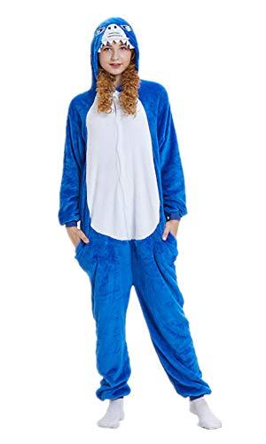 ABYED® Kostüm Jumpsuit Onesie Tier Fasching Karneval Halloween kostüm Erwachsene Unisex Cosplay Schlafanzug- Größe XL -for Höhe 175-181CM, Hai